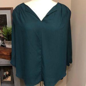 Peacock-blue, chiffon blouse